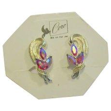 Coro Signed 1940's Color Change Rhinestone Earrings