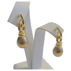 14 k Gold Earrings Pierced Studs With Satin Textured Ball Dangle