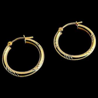 14 K Hoop Earrings in Satin & Diamond Cut