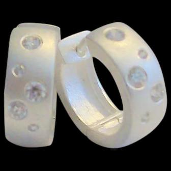 925 Sterling Silver Satin Hugger Hoop Pierced Earrings With Crystals