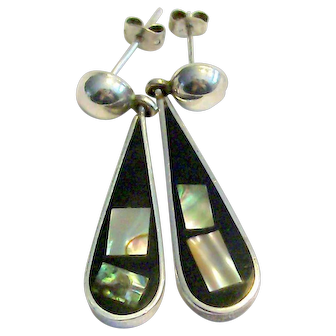 925 Sterling Silver Black Onyx With Shell Inlay Earrings Signed Mexico