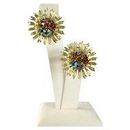 Signed Lisner Rhinestone Earrings Aster Flowers