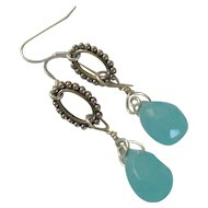 925 Sterling Silver & Blue Chalcedony Earrings