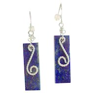 925 Sterling Silver Royal Blue Natural Lapis Earrings