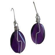 925 Sterling Silver Amethyst Twisted Oval A+ Gem Grade  Earrings