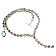 925 Sterling Silver Tourmaline Necklace 20""