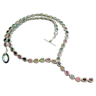 """Tourmaline Pears in Sterling Silver Necklace 20"""""""