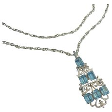 Crown Trifari Blue Rhinestone Double Chain Necklace 1955 to Late 1960's