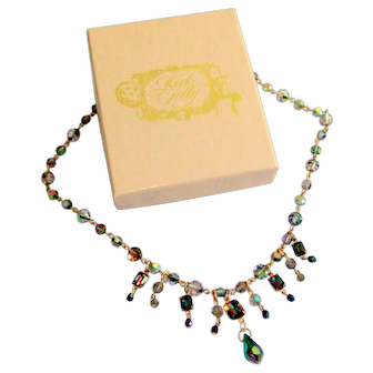 Kirk's Folly Rhinestone & Chain Necklace With Box