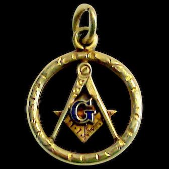 14k Masonic Pendant/Charm With Blue Enamel Dual Sided
