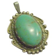 Native American Turquoise & Sterling Silver Pendant
