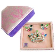 B. David Rhinestone & Faux Pearl Demi Parure in Original Box