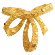 Signed Crown Trifari Bow Pin in Gold Tone