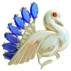 Rare Coro Craft Rhinestone Bird Brooch 1935-1940