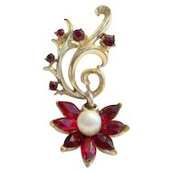 Coro Flower Brooch With Red Rhinestone & Simulated Pearl