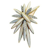 Signed Jomaz Rhinestone and Enamel Gold-toned Pin