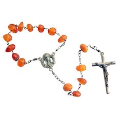 Vintage Amber Rosary Made in Italy 800 Silver