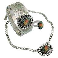 Emmons Floral Cabochon Set Bracelet, Necklace & Ring