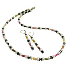Tourmaline, Cultured Freshwater Pearls, Hematite & 925 Sterling Silver Set