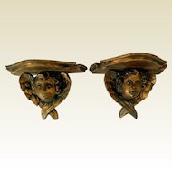 Antique Pair Carved Wood Angel Putti Sconces