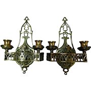 Pair Vintage Solid Brass Wall Lighting Sconces