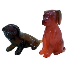 Vintage Carved Carnelian Stone Miniature Dogs (2)
