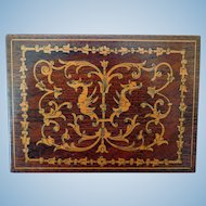 Vintage Inlaid Wood Box, with Gryphons