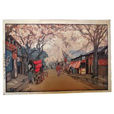 Hiroshi Yoshida Signed Japan Woodblock Print, Avenue of Cherry Trees
