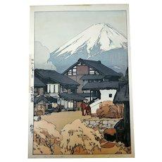 Hiroshi Yoshida Signed Japan Woodblock Print, Fuji from Funatsu