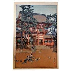 Hiroshi Yoshida Signed Japan Woodblock Print, Gion Shrine Gate