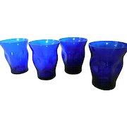 Vintage Cobalt Blue Cordial/Shot Glasses, Set of 4