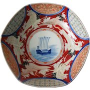 Antique Imari Porcelain Bowl, Fukagawa, Early 20th Century