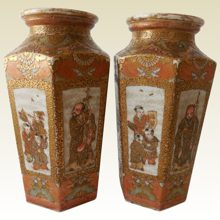 Pair Antique Satsuma Vases Meiji Period Earthenware Sna Treasures