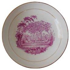 Early Bat-Painted Soft Paste Porcelain Bowl, Puce