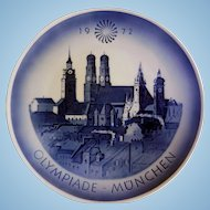 Royal Copenhagen Commemorative Plate, 1972 Olympics, Munich