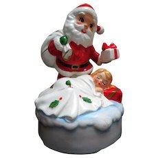 Mid-Century Lefton Musical Ceramic Santa