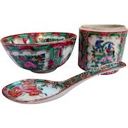 Vintage Rose Medallion Chinese Export Porcelain Group