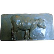 Vintage Decorative Ceramic Tile, Cow in High Relief