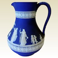 Elegant Wedgwood Dark Blue Jasperware Pitcher