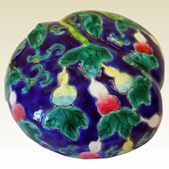 Rare Continental Hand-Painted Pottery Covered Box