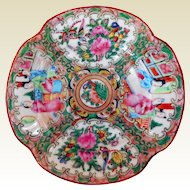 Early Chinese Porcelain Rose Medallion Quatrefoil Dessert Plate