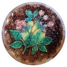 19th Century Majolica Plate, Basketweave & Blackberries
