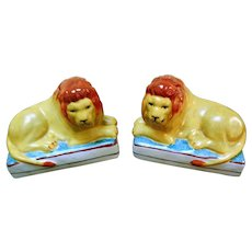 Antique Pair Staffordshire Lion Figurines, Bookends