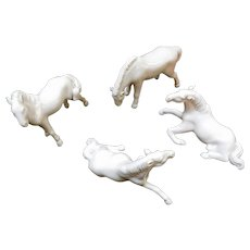 Blanc de Chine Horses, 19th C China, Collection of Four