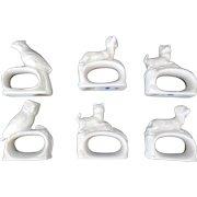 Set of Vintage Porcelain Figural Animal Napkin Rings (6)