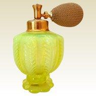 Vintage DeVilbiss Opalescent Vaseline Perfume Bottle w/Atomizer
