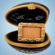 Vintage Limoges Porcelain Box, Egg with Photo Frame