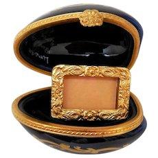 Vintage Limoges Porcelain Box, Egg with Photo Frame