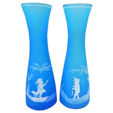Pair Westmoreland Blue Mist Vases, Mary Gregory Style Decor