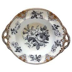 Early Davenport Porcelain Mulberry Transfer Vegetable Bowl